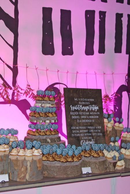 Intrum céges születésnapi desszertasztal