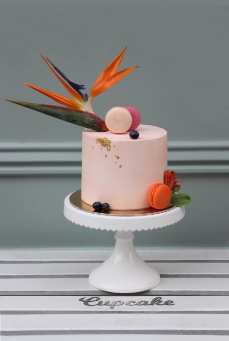 Barackos rózsaszín torta - papagájvirággal - fehércsokiborítással
