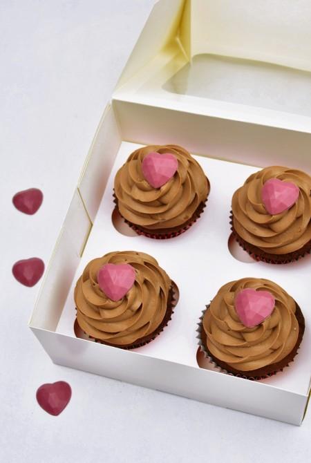 Valentin cupcake 4 BOX - Csokis