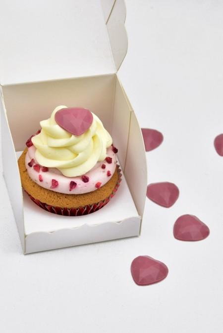 Valentin cupcake 1 BOX - Málnás - fehércsoki